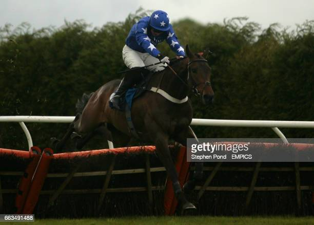 Segal ridden by jockey Paul Moloney jumps the last fence to win the Rose and Lion in Bromyard Novices' Handicap Hurdle Race at Hereford Racecouse