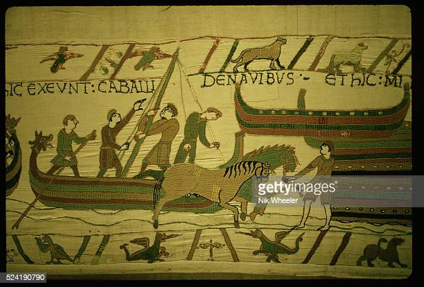 A segment of the Bayeux Tapestry which depicts the Norman Conquest of England The embroidered linen tapestry dates from around 1080 Bayeux Normandy...