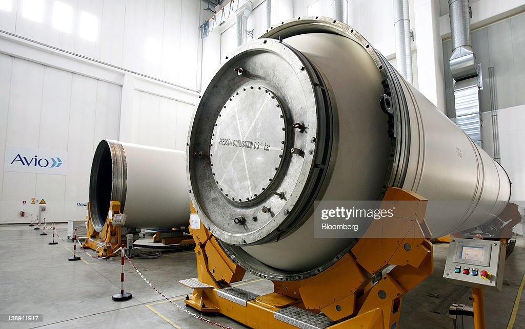 Segments of Avio SpA's Ariane 5 space rocket boosters sit inside the company's production plant in Colleferro, near Rome, Italy, on Monday, Feb. 13, 2012. Avio, an Italian provider of aerospace services and equipment including gearboxes for aircraft engines, aims to sell shares to the public when the market improves, Chief Executive Officer Francesco Caio said in an interview. Photographer: Alessia Pierdomenico/Bloomberg via Getty Images