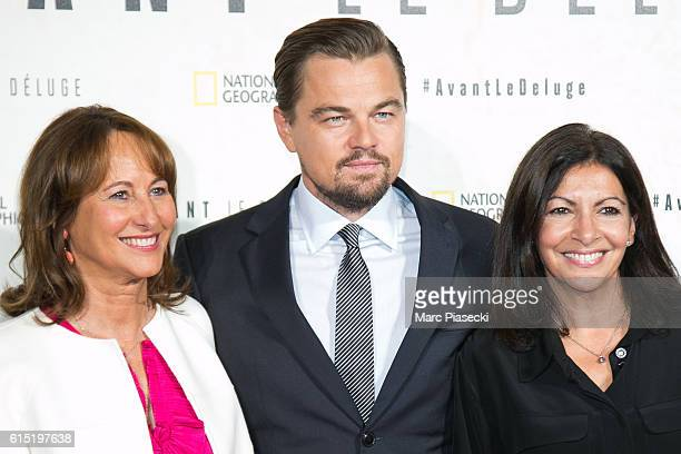 Segolene Royal actor Leonardo Di Caprio and Mayor of the city of Paris Anne Hidalgo attend the 'Before the Flood Avant le Deluge' Premiere at Theatre...