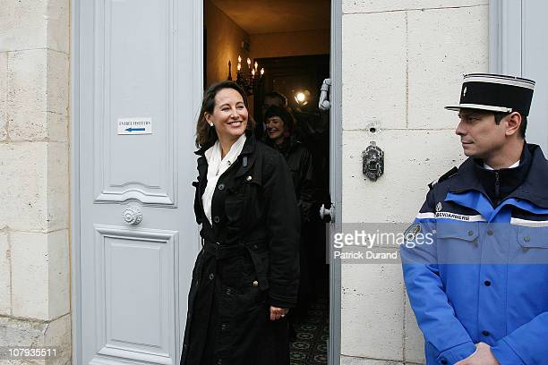 Segolene Royal comes out of the birthplace transformed into a museum after a ceremony held for late French President Francois Mitterrand at Jarnac...