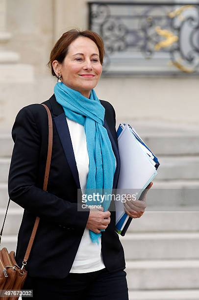 Segolene Royal French Minister of Ecology Sustainable Development and Energy after a meeting at the Elysee Presidential Palace on November 18 2015 in...