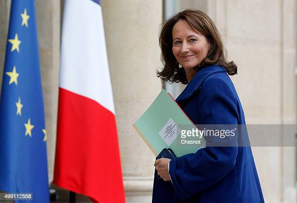 Segolene Royal French Minister of Ecology Sustainable Development and Energy arrives to attend a meeting with French President Francois Hollande at...