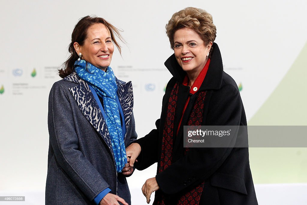 Segolene Royal, French Minister of Ecology, Sustainable Development and Energy welcomes Brasilian President Dilma Rousseff (R) as he arrives for the COP21 United Nations Climate Change Conference on November 30, 2015 in Le Bourget, France. More than 150 world leaders are meeting for the 21st Session of the Conference of the Parties to the United Nations Framework Convention on Climate Change (COP21/CMP11), from November 30 to December 11, 2015.
