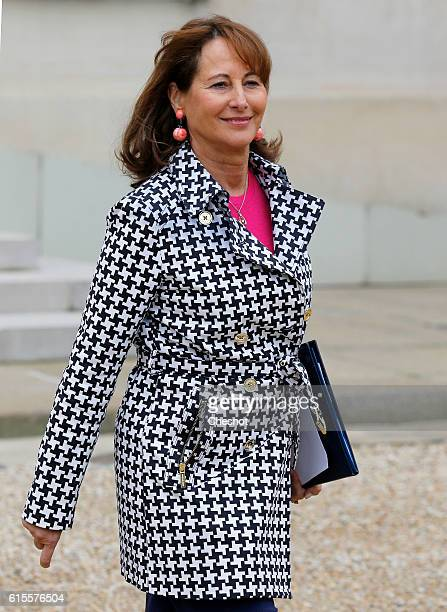 Segolene Royal French Minister of Ecology Sustainable Development and Energy leaves the Elysee Presidential Palace after a weekly cabinet meeting on...
