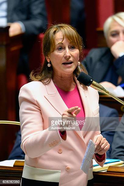 Segolene Royal French Minister of Ecology Sustainable Development and Energy answers deputies during the weekly questions to the government at French...