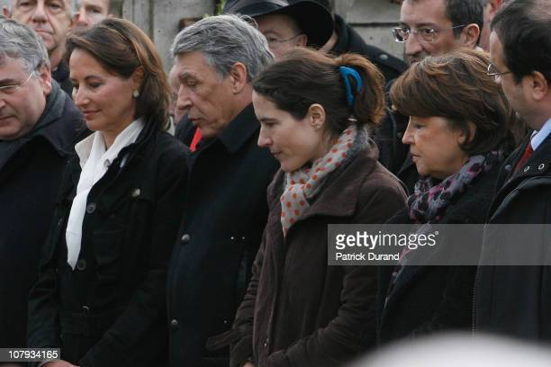 Segolene Royal Gilbert Mitterrand Mazarine Pingeot and Martine Aubry attend a ceremony held for late French President Francois Mitterrand at Jarnac...