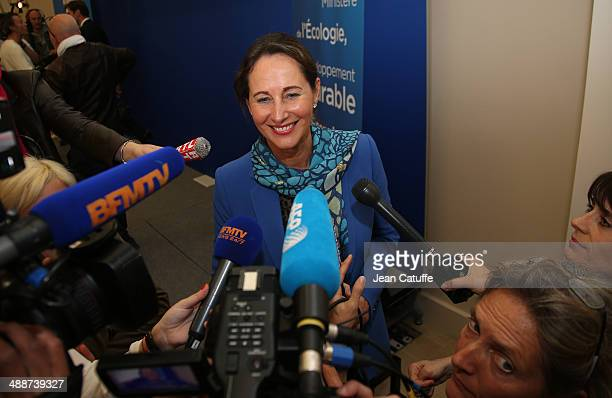 Segolene Royal Minister of Ecology Sustainable Development and Energy gives a press conference announcing the results of the offshore wind farms...