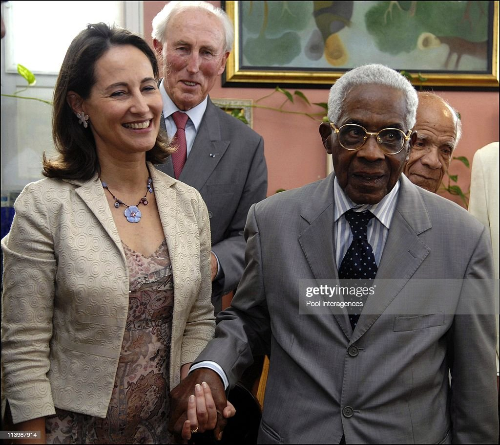 <a gi-track='captionPersonalityLinkClicked' href=/galleries/search?phrase=Segolene+Royal&family=editorial&specificpeople=546504 ng-click='$event.stopPropagation()'>Segolene Royal</a> visits the French Caribbean territories of Martinique and Guadeloupe in Fort de France, Guadeloupe On January 26, 2007-French Socialist presidential candidate <a gi-track='captionPersonalityLinkClicked' href=/galleries/search?phrase=Segolene+Royal&family=editorial&specificpeople=546504 ng-click='$event.stopPropagation()'>Segolene Royal</a> (L) meets French poet and former mayor of Fort de France <a gi-track='captionPersonalityLinkClicked' href=/galleries/search?phrase=Aime+Cesaire&family=editorial&specificpeople=2045412 ng-click='$event.stopPropagation()'>Aime Cesaire</a> (C) in Fort de France's City Hall in the French Caribbean territory of Martinique on January 26, 2007. Mrs Royal is on a three-day visit to the French Caribbean territories.