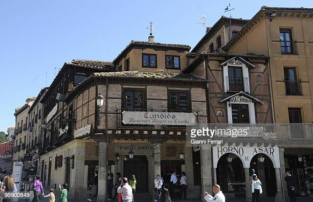 Segovia Spain The center of the town with the restaurant Candido
