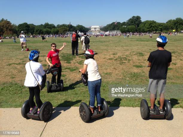 Segway tour group observes the Lincoln Memorial from a distance during the 50th March On Washington Anniversary in Washington DC on August 24 2013
