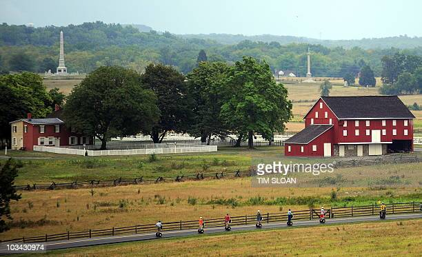 A Segway tour passes the historic Codori farm which sits in the heart of the battle field on August 11 2010 at the Gettysburg National Military Park...