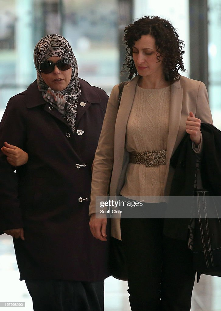 Seham Tounisi (L), the mother of 18-year-old Abdella Ahmad Tounisi, leaves the Dirksen Federal Building with her son's attorney Molly Armour following a court hearing on May 3, 2013 in Chicago, Illinois. A judge today overturned yesterday's decision by Judge Daniel Martin to release Abdella Tounisi on bond. Tounisi is accused of trying to fly to Turkey to join up with an al-Qaida group to fight in Syria. He has also been accused of plotting to bomb a Chicago bar last year.