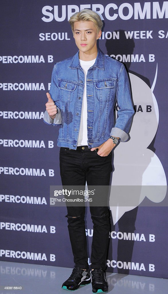 Sehun of Exo attends the 2016 Hera Seoul Fashion Week - Supercomma B collection at DDP on October 19, 2015 in Seoul, South Korea.