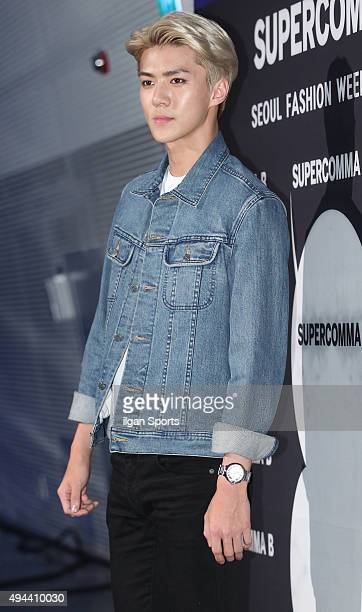 Sehun of Exo attends the 2016 Hera Seoul Fashion Week Supercomma B collection at DDP on October 19 2015 in Seoul South Korea