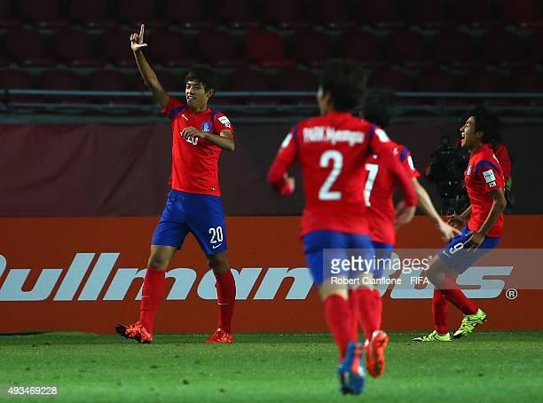 Sehun of Korea Republic celebrates after scoring a goal during the FIFA U17 World Cup Group B match between Korea Republic and Guinea at Estadio La...
