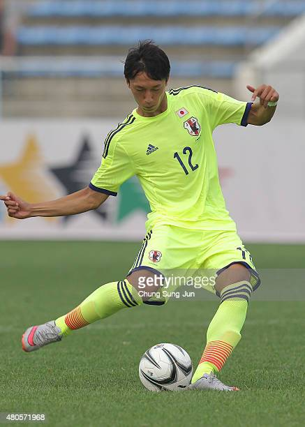 Sei Muroya of Japan in action during the Men's Football third place match between Japan and Brazil during the Universiade Gwangju 2015 at Naju Public...