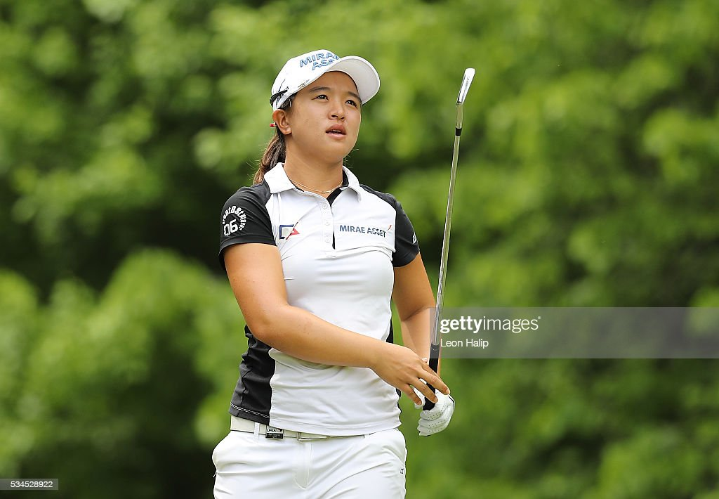 Sei Young Kim from Seoul hits her tee shot on the seventh hole during the first round of the LPGA Volvik Championship on May 26, 2016 at Travis Pointe Country Club Ann Arbor, Michigan.