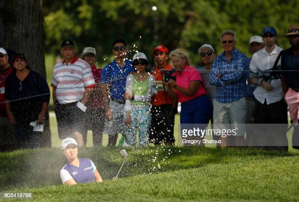 Sei Young Kim of South Korea hits her second shot from a fairway sand trap on the 16th hole during the third round of the 2017 KPMG PGA Championship...