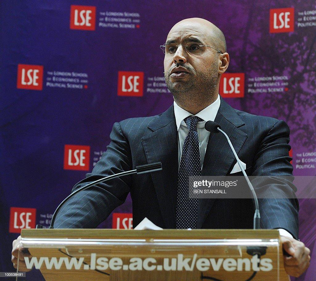 Seif al-Islam Alqadhafi, son of Libyan leader Moamer Kadhafi, addresses an audience at the London School of Economics in London on May 25, 2010.