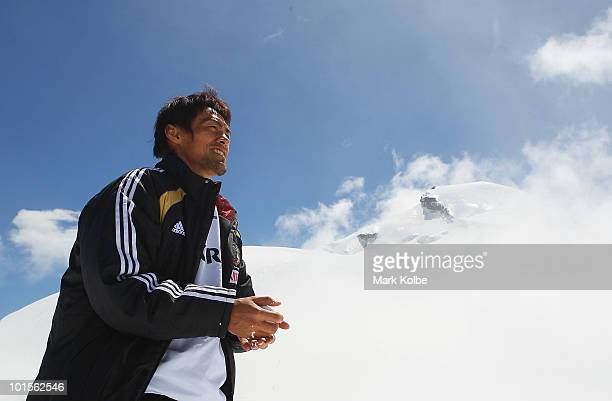 Seigo Narazaki makes a snow ball during a visit by members of the Japan football team to Allalin on June 2 2010 in SaasFee Switzerland