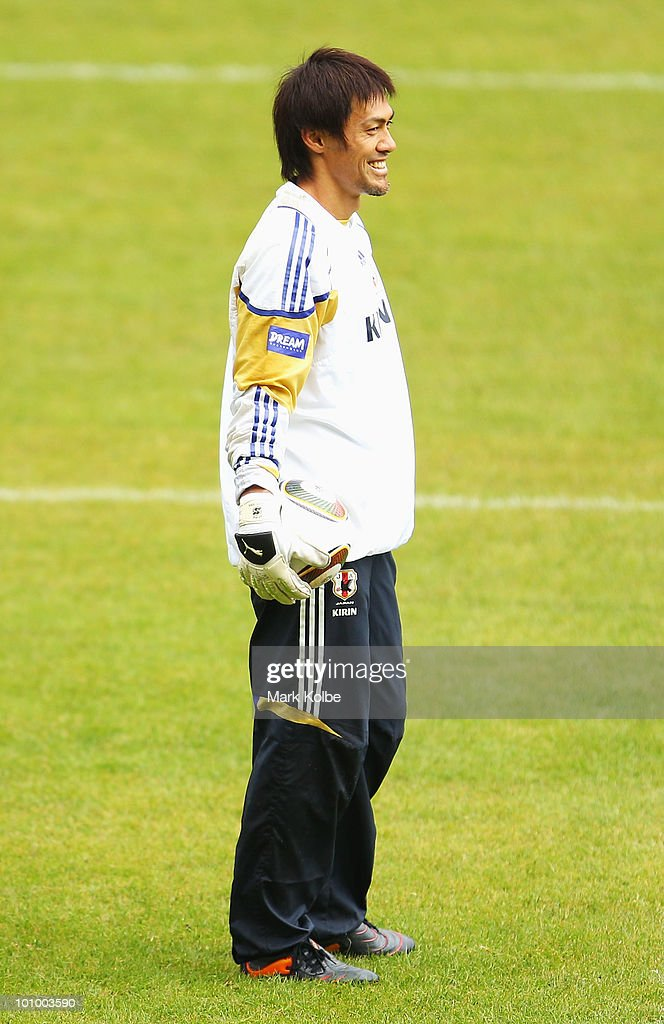 Seigo Narazaki smiles as he watches on during a Japan training session at Saas-Fee Stadium on May 27, 2010 in Saas-Fee, Switzerland.