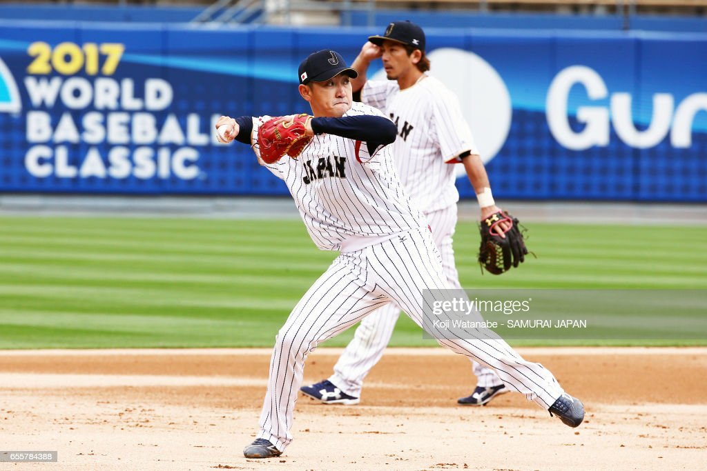 Seiichi Uchikawa #1 of Japan in action during a training session ahead of the World Baseball Classic Championship Round at Dodger Stadium on March 20, 2017 in Los Angeles, California.