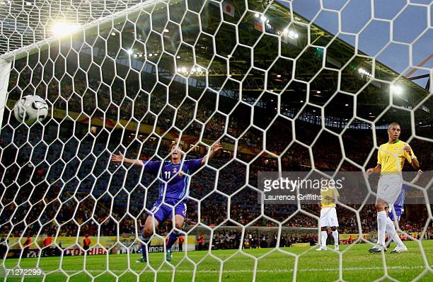 Seiichiro Maki of Japan celebrates his teams first goal scored by Keiji Tamada of Japan during the FIFA World Cup Germany 2006 Group F match between...