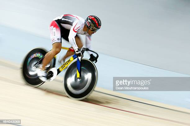 Seiichiro Nakagawa of Japan Cycling Team competes in the Mens Sprint Qualifying race during day 4 of the UCI Track Cycling World Championships held...