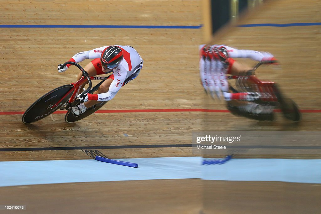 Seiichiro Nakagawa of Japan during qualification in the men's sprint on day four of the UCI Track World Championships at Minsk Arena on February 23, 2013 in Minsk, Belarus.