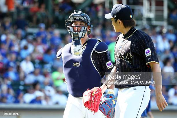 Seiji Kobayashi of Japan in action during the exhibition game between Japan and Chicago Cubs at Sloan Park on March 18 2017 in Mesa Arizona
