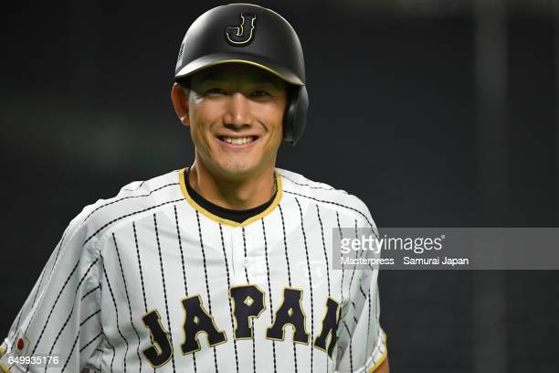 Seiji Kobayashi of Japan smiles during the practice day during the World Baseball Classic at Tokyo Dome on March 9 2017 in Tokyo Japan