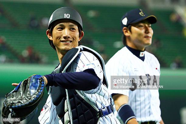 Seiji Kobayashi of Samurai Japan in action during the friendly match between Samurai Japan and Fukuoka SoftBank Hawks Hokkaido Nipponham Fighters at...