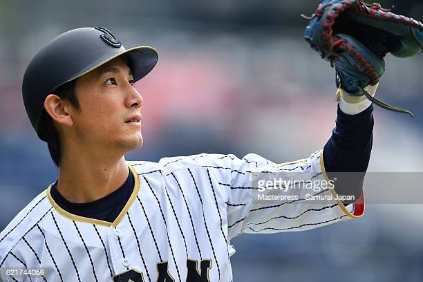 Seiji Kobayashi of SAMURAI JAPAN in action during the Japan national baseball team practice session at the QVC on November 8 2016 in Tokyo Japan