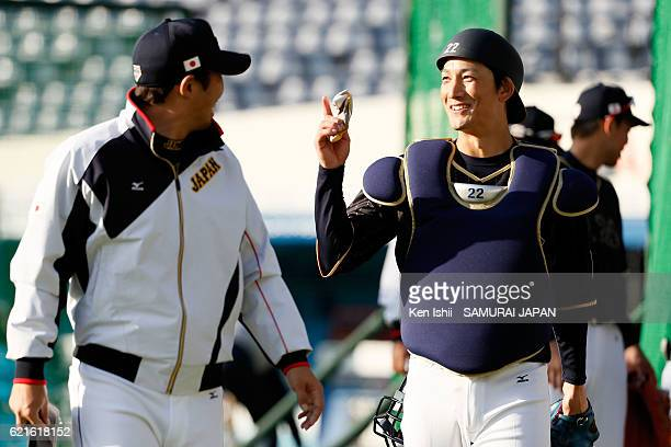 Seiji Kobayashi of Samurai Japan talks during the Japan national baseball team practice session at the QVC on November 7 2016 in Tokyo Japan