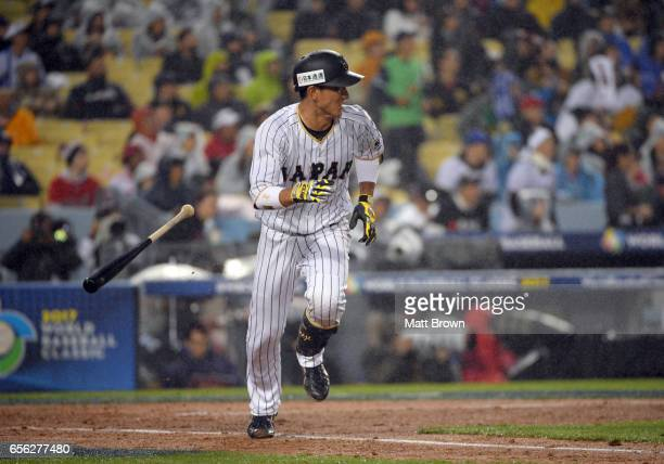 Seiji Kobayashi of Team Japan runs to first after hitting a single in the bottom of the third inning of Game 2 of the Championship Round of the 2017...