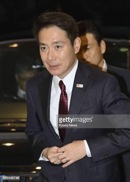 Seiji Maehara head of Japan's moribund main opposition Democratic Party arrives at the venue for a speech in Okazaki Aichi Prefecture on Sept 29 2017...