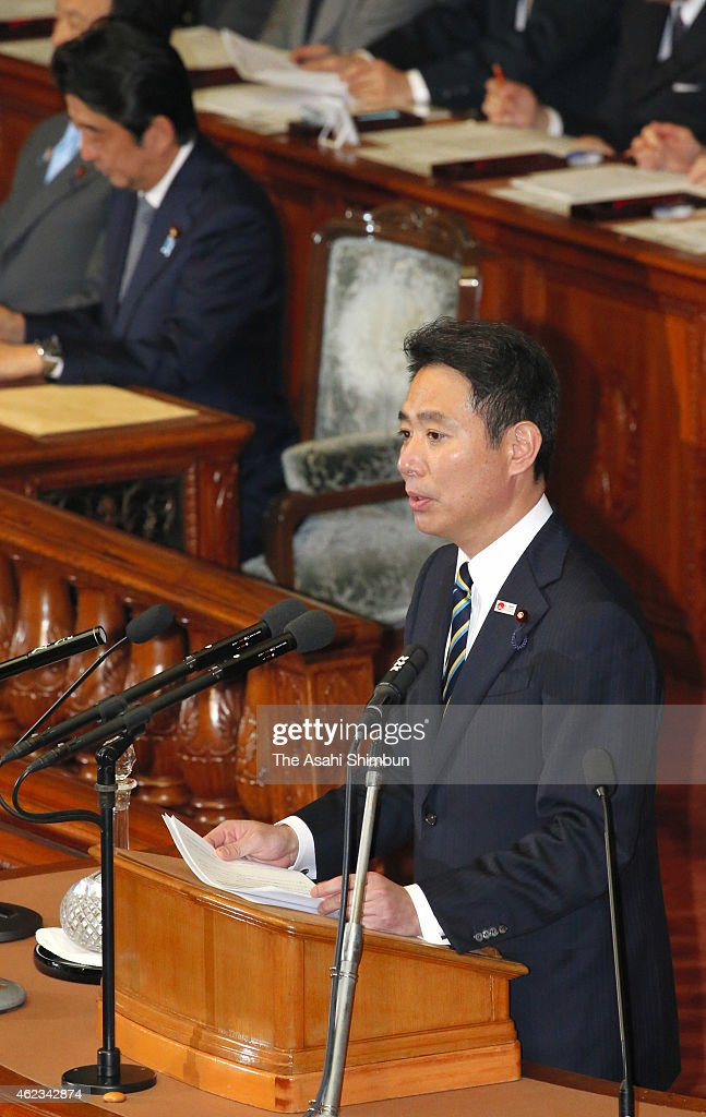 Seiji Maehara of Democratic Party of Japan questions during the plenary session of the lower house at the diet building on January 26, 2015 in Tokyo, Japan.