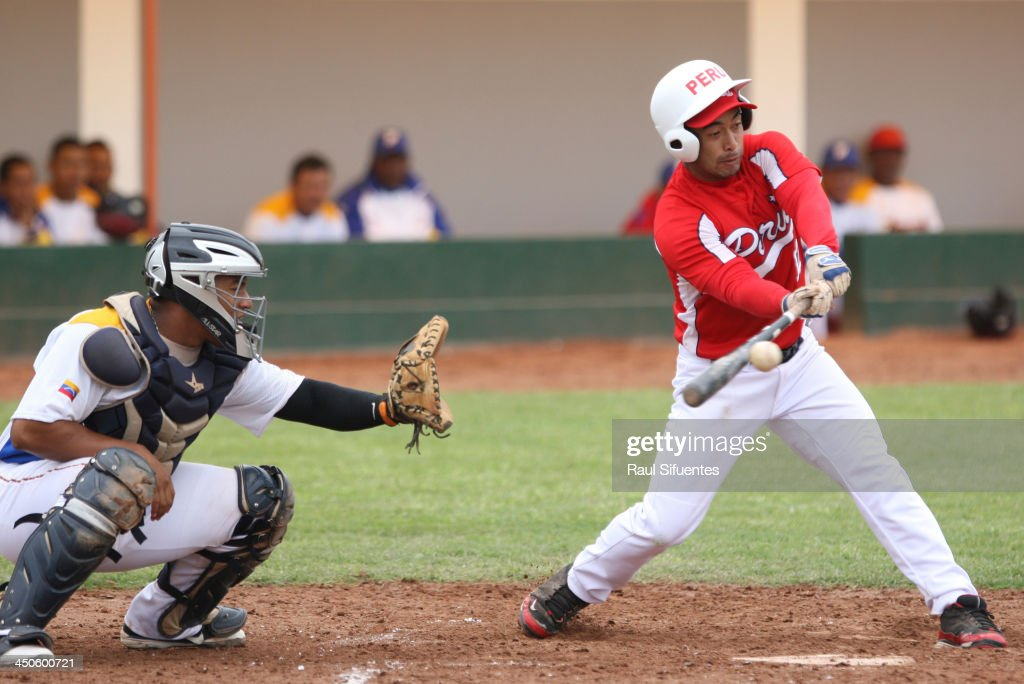 Seiko Hayashida of Peru during the match between Peru and Venezuela as part of the XVII Bolivarian Games Trujillo 2013 at Villa Regional del Callao on November 19, 2013 in Lima, Peru.