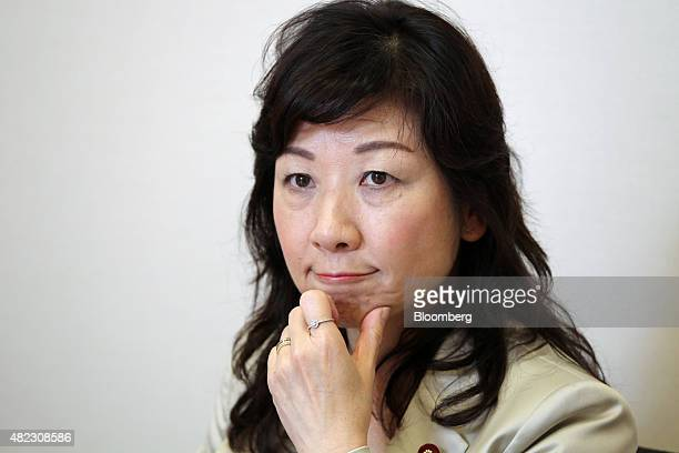 Seiko Noda a lawmaker from the Liberal Democratic Party listens during an interview in Tokyo Japan on Wednesday July 29 2015 Noda who's been...