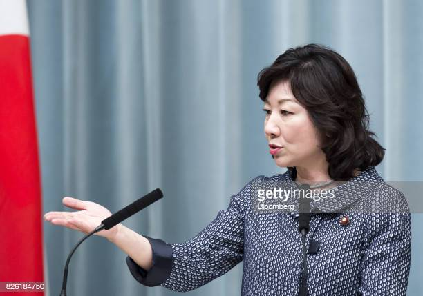 Seiko Noda newlyappointed internal affairs and communications minister of Japan speaks during a news conference at the Prime Minister's official...