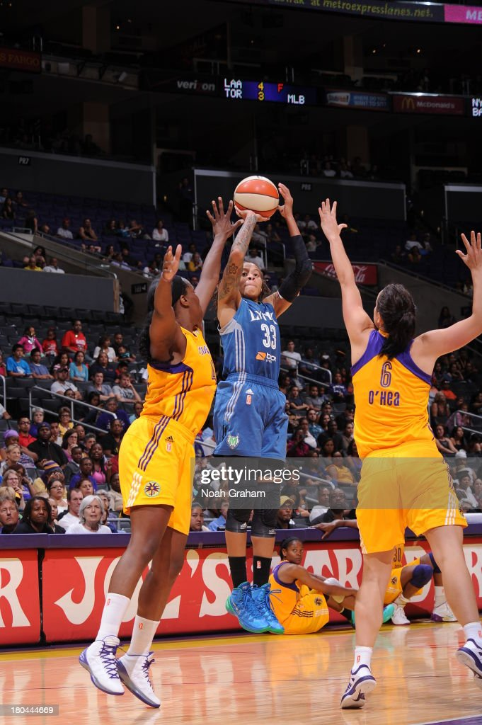 <a gi-track='captionPersonalityLinkClicked' href=/galleries/search?phrase=Seimone+Augustus&family=editorial&specificpeople=540457 ng-click='$event.stopPropagation()'>Seimone Augustus</a> #33 of the Minnesota Lynx attempts a shot during a game against the Los Angeles Sparks at Staples Center on September 12, 2013 in Los Angeles, California.