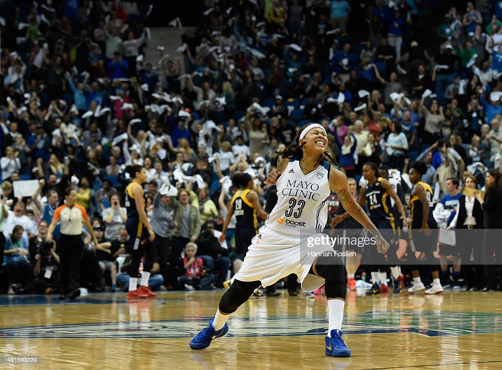 <a gi-track='captionPersonalityLinkClicked' href=/galleries/search?phrase=Seimone+Augustus&family=editorial&specificpeople=540457 ng-click='$event.stopPropagation()'>Seimone Augustus</a> #33 of the Minnesota Lynx celebrates scoring the go ahead basket against the Indiana Fever during the third quarter in Game Two of the 2015 WNBA Finals on October 6, 2015 at Target Center in Minneapolis, Minnesota. The Lynx defeated the Fever 77-71.