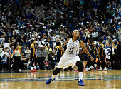 Seimone Augustus of the Minnesota Lynx celebrates scoring the go ahead basket against the Indiana Fever during the third quarter in Game Two of the...