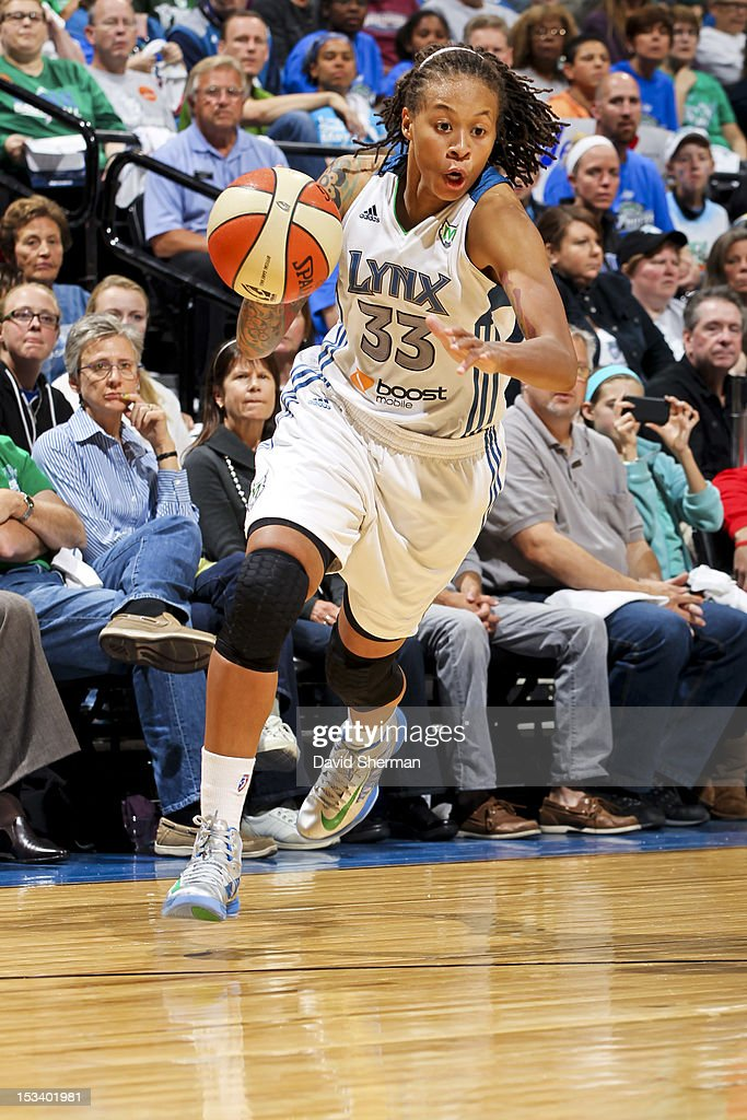 Seimone Augustus #33 of the Minnesota Lynx drives against the Los Angeles Sparks during Game One of the 2012 WNBA Western Conference Finals on October 4, 2012 at Target Center in Minneapolis, Minnesota.