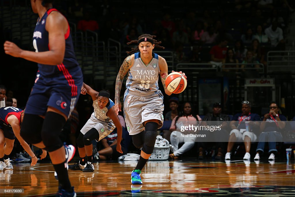 <a gi-track='captionPersonalityLinkClicked' href=/galleries/search?phrase=Seimone+Augustus&family=editorial&specificpeople=540457 ng-click='$event.stopPropagation()'>Seimone Augustus</a> #33 of the Minnesota Lynx drives to the basket against the Washington Mystics during game on June 26, 2016 at Verizon Center in Washington, District of Columbia.