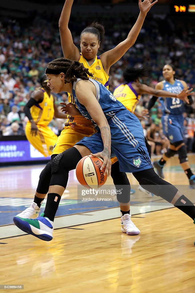 <a gi-track='captionPersonalityLinkClicked' href=/galleries/search?phrase=Seimone+Augustus&family=editorial&specificpeople=540457 ng-click='$event.stopPropagation()'>Seimone Augustus</a> #33 of the Minnesota Lynx drives to the basket during the game against the Los Angeles Sparks during the WNBA game on June 24, 2016 at Target Center in Minneapolis, Minnesota.