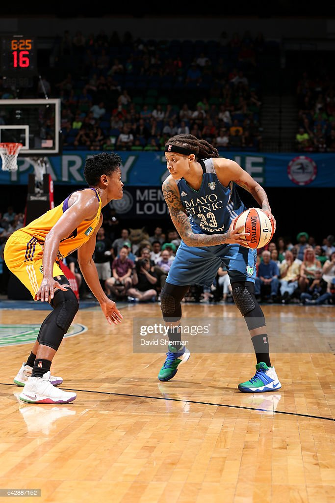 <a gi-track='captionPersonalityLinkClicked' href=/galleries/search?phrase=Seimone+Augustus&family=editorial&specificpeople=540457 ng-click='$event.stopPropagation()'>Seimone Augustus</a> #33 of the Minnesota Lynx handles the ball during the game against the Los Angeles Sparks during the WNBA game on June 24, 2016 at Target Center in Minneapolis, Minnesota.