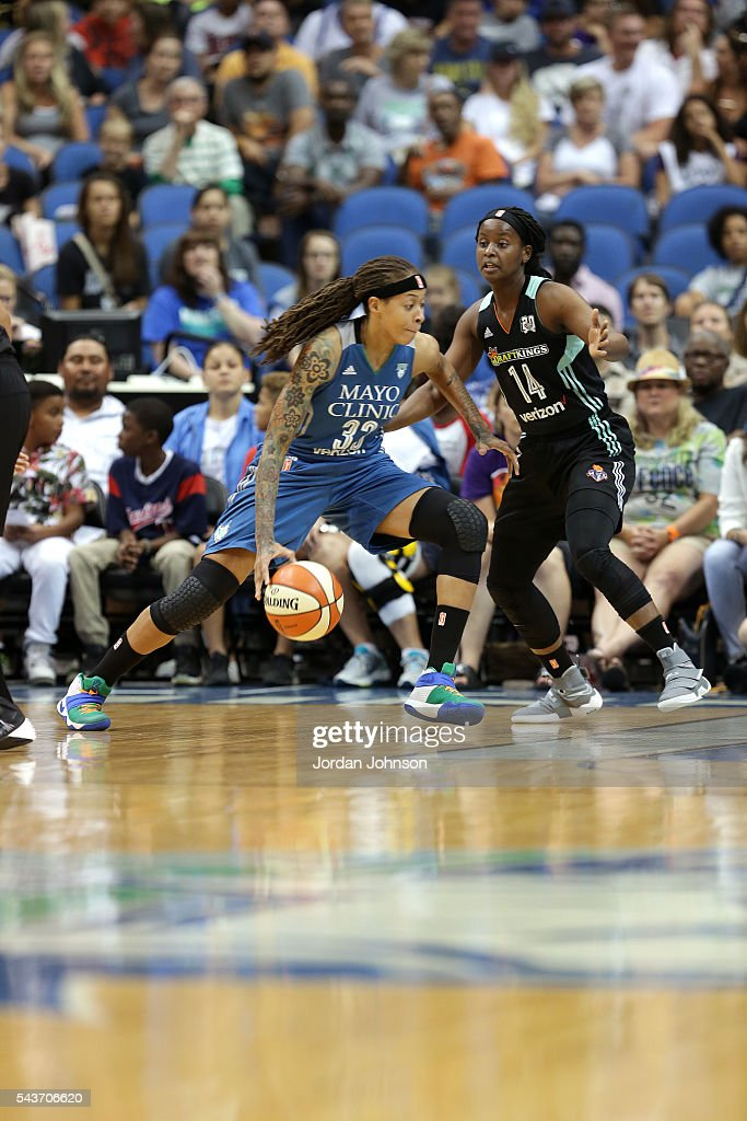 <a gi-track='captionPersonalityLinkClicked' href=/galleries/search?phrase=Seimone+Augustus&family=editorial&specificpeople=540457 ng-click='$event.stopPropagation()'>Seimone Augustus</a> #33 of the Minnesota Lynx handles the ball during the game against Sugar Rodgers #14 of the New York Liberty during the WNBA game on June 29, 2016 at Target Center in Minneapolis, Minnesota.