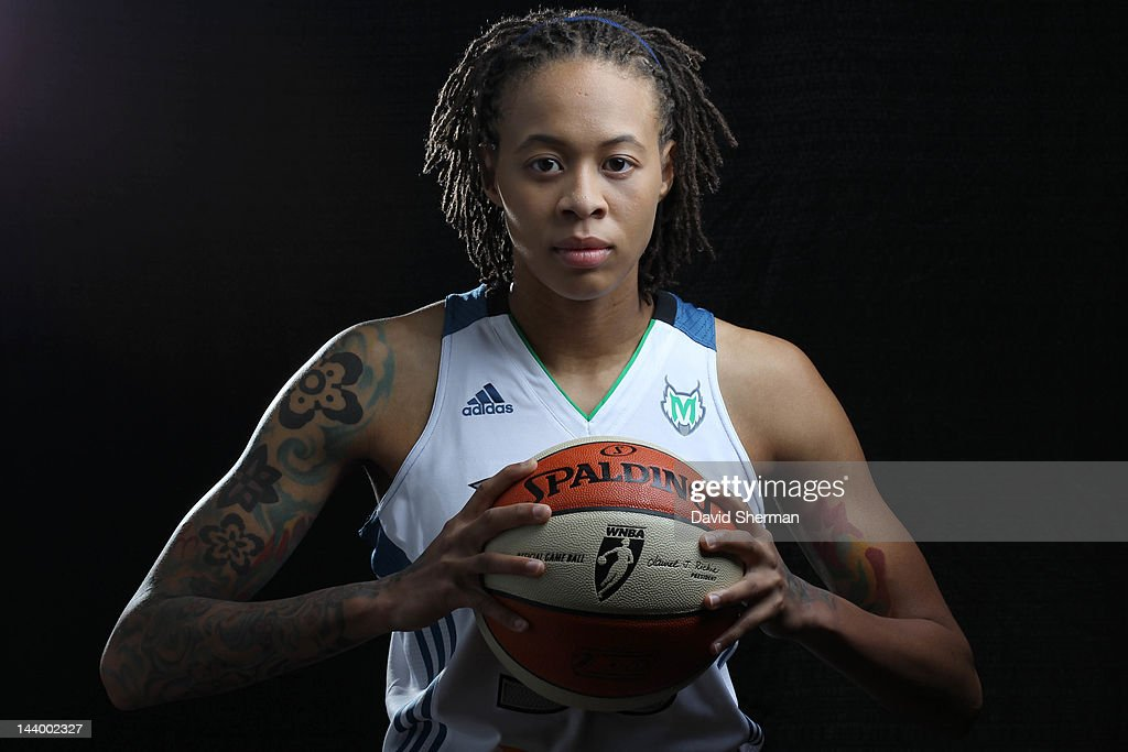 <a gi-track='captionPersonalityLinkClicked' href=/galleries/search?phrase=Seimone+Augustus&family=editorial&specificpeople=540457 ng-click='$event.stopPropagation()'>Seimone Augustus</a> #33 of the Minnesota Lynx poses for a portrait during 2012 Media Day on May 7, 2012 at the Minnesota Timberwolves and Lynx LifeTime Fitness Training Center at Target Center in Minneapolis, Minnesota.